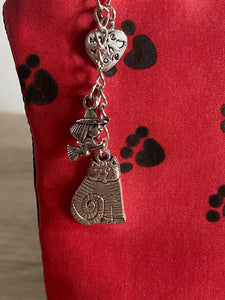 Paw Prints Design Cosmetics Purse in Red : Hand Painted Silk