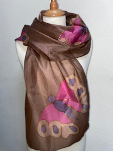 Butterfly Design Long Silk Scarf in Brown & Pink : Hand Painted Silk