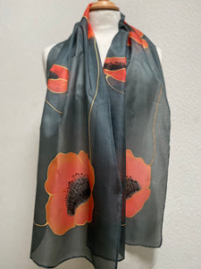 Poppies Design Long Scarf : Hand Painted Silk