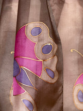 Load image into Gallery viewer, Butterfly Design Long Silk Scarf in Brown & Pink : Hand Painted Silk