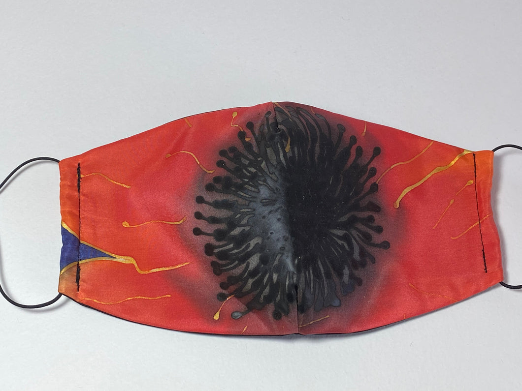Poppy Design Hand Painted Silk Face Covering/Mask