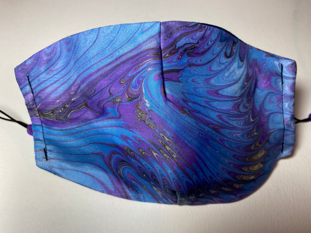 Marbled Silk Face Covering/Mask in Blue and purple