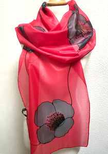 Poppy Noir Design X Long Silk Scarf : Hand Painted Silk