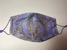 Load image into Gallery viewer, Marbled Silk Face Covering/Mask in Lilac and Grey