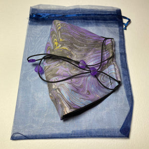 Marbled Silk Face Covering/Mask in Lilac and Grey