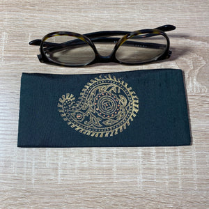 Paisley Large in Blue Design Glasses Hand Printed Silk