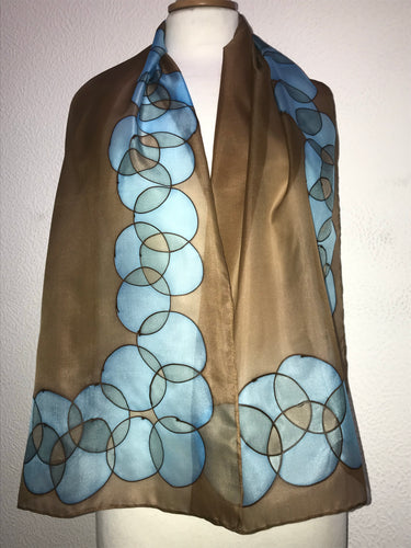 Bubbles Design silk scarf in turquoise, teal and chocolate brown