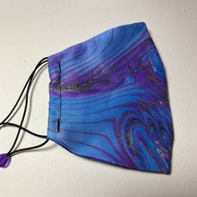 Load image into Gallery viewer, Marbled Silk Face Covering/Mask in Blue and purple