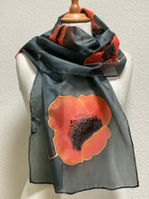 Load image into Gallery viewer, Poppies Design Long Scarf : Hand Painted Silk