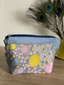 Bubbles Design Cosmetics Purse in Pastels : Hand Painted Silk