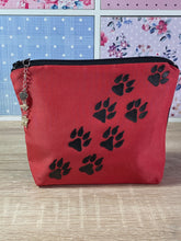 Load image into Gallery viewer, Paw Prints Cosmetics Purse in Red : Hand Painted Silk