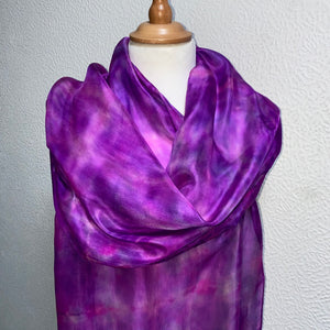 Hand Dyed Long Silk Scarf in Pink and Purple