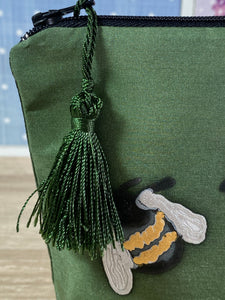Bees Design Cosmetics Purse in Olive Green : Hand Painted Silk