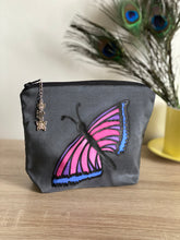Load image into Gallery viewer, Butterfly Design Cosmetics Purse : Hand Painted Silk
