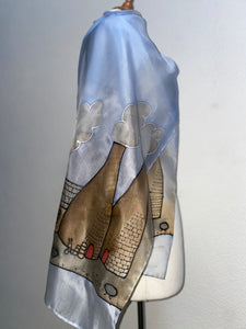 Potteries Design X Long Silk Scarf : Hand Painted Silk