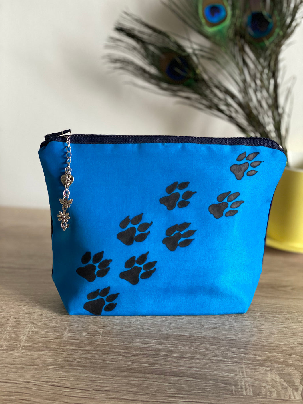 Paw Prints Design Cosmetics Purse in Blue : Hand Painted Silk