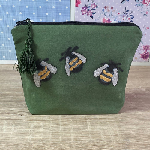 Bees Design Cosmetics Purse in olive green