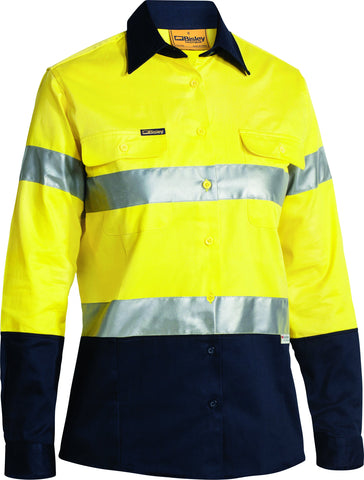 Womens Hi Vis Drill Shirt 3M Reflective Tape