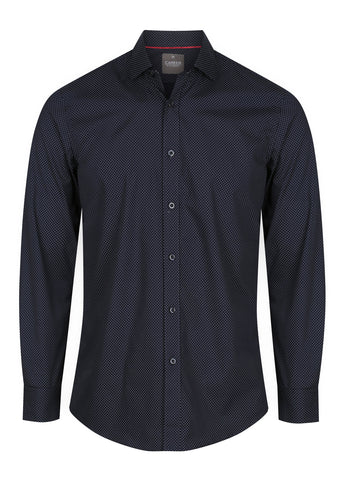 Mens Dot Print Long Sleeve Shirt