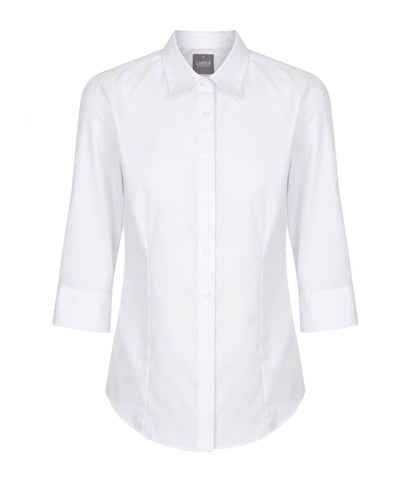 Womens White 3/4 Sleeve Shirt
