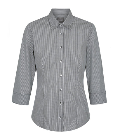 Womens Gingham 3/4 Sleeve Shirt