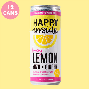 This image is a 12 can pack of Happy Inside lemon, yuzu and ginger gut health drinks.