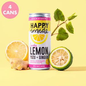 This image is a 4 can pack of Happy Inside lemon, yuzu and ginger gut health drinks with superstar ingredient Japanese knotweed.