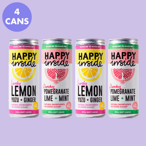 This image is a 4 can taster pack of Happy Inside lemon, yuzu and ginger and pomegranate, lime and mint gut health drinks.