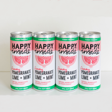 Load image into Gallery viewer, This image is 4 x 250ml can of Happy Inside - pomegranate, lime and mint gut health drink.