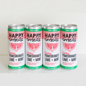This image is 4 x 250ml can of Happy Inside - pomegranate, lime and mint gut health drink.