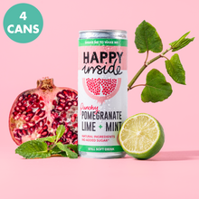 Load image into Gallery viewer, This image is a 4 can taster pack of Happy Inside pomegranate, lime and mint gut health drinks with superstar ingredient Japanese knotweed.