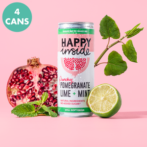 This image is a 4 can taster pack of Happy Inside pomegranate, lime and mint gut health drinks with superstar ingredient Japanese knotweed.