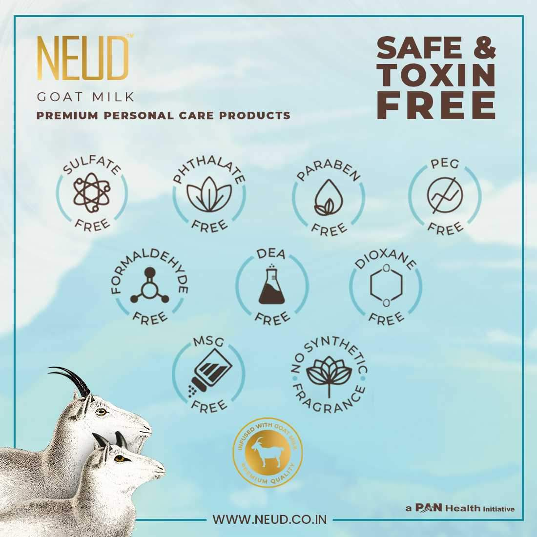 NEUD Goat Milk Face Wash & Moisturizing Lotion Combo for Men & Women - 300 ml Each