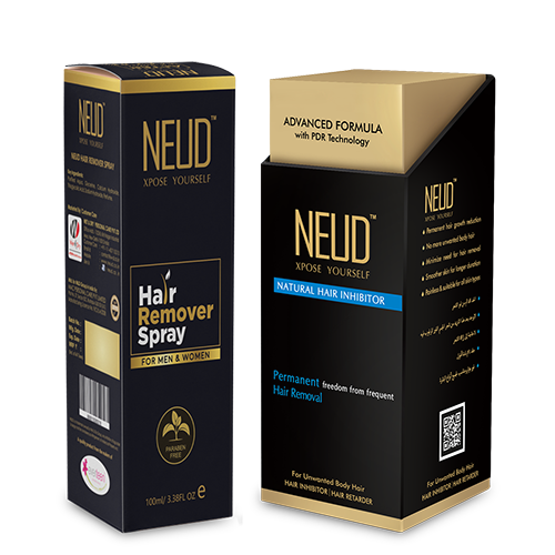 NEUD Combo: Hair Remover Spray 100 ml and Natural Hair Inhibitor 80 gm for Men and Women