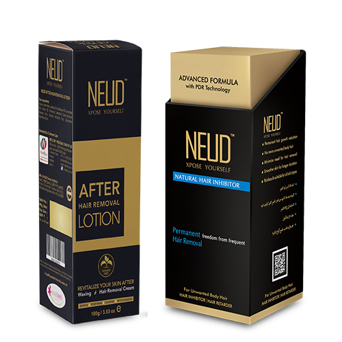 NEUD Combo Natural Hair Inhibitor (80 g) and After-Hair-Removal Lotion (100 g) for Men and Women