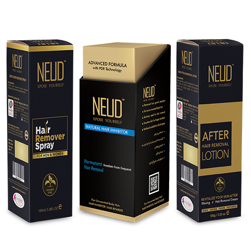 NEUD Ultimate Combo: Hair Inhibitor, Hair Remover Spray and After-Hair-Removal Lotion for Skin Care in Men & Women