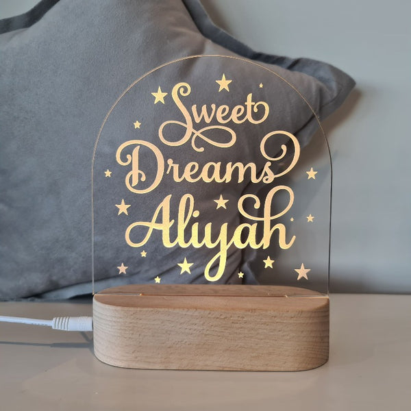 Nursery Decor Night Light Custom Name Sweet Dreams