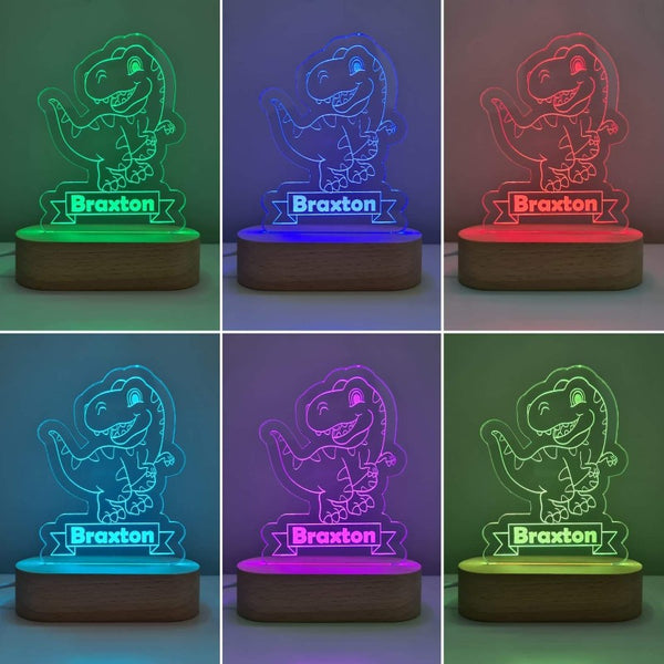 Nursery Decor Night Light Custom Name Dinosaur