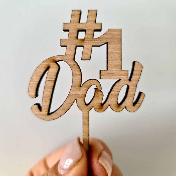 10 x # 1 Dad Cupcake Toppers - Wood