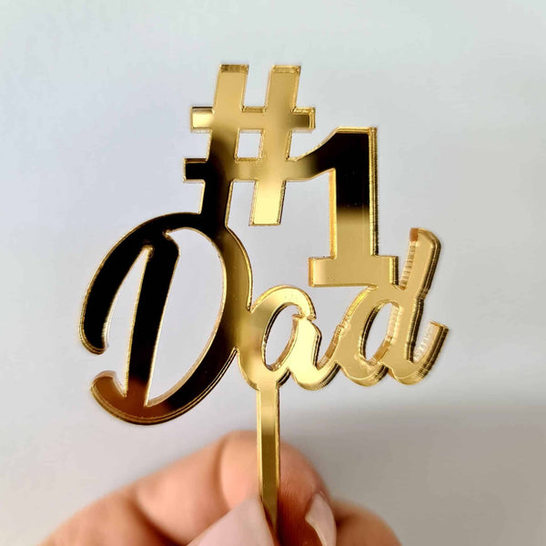 10 x # 1 Dad Cupcake Toppers - Gold