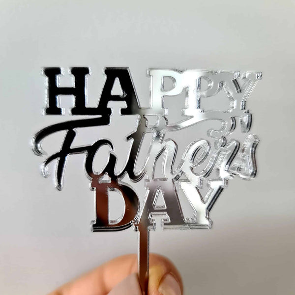 10 x Happy Father's Day Cupcake Toppers - Silver