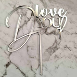 Love You Dad Cake Topper - Silver