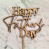 Happy Father's Day Cake Topper - Wood