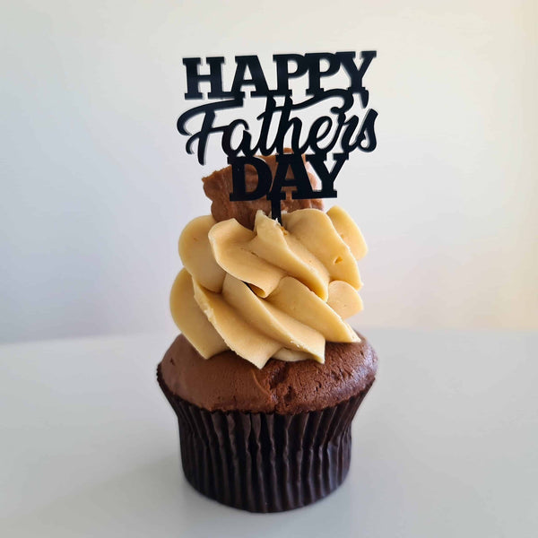 10 x Happy Father's Day Cupcake Toppers - Black