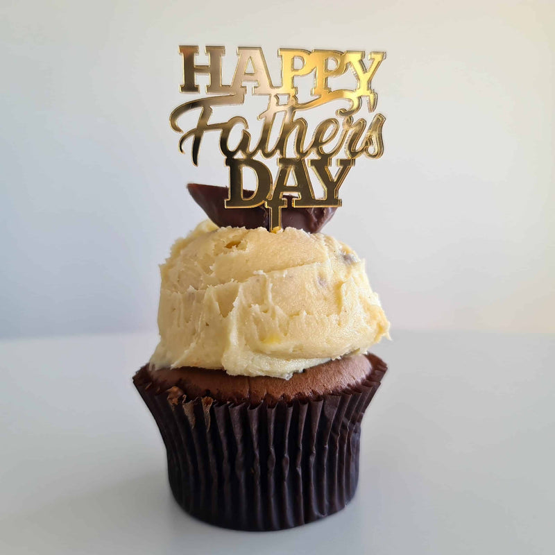 10 x Happy Father's Day Cupcake Toppers - Gold