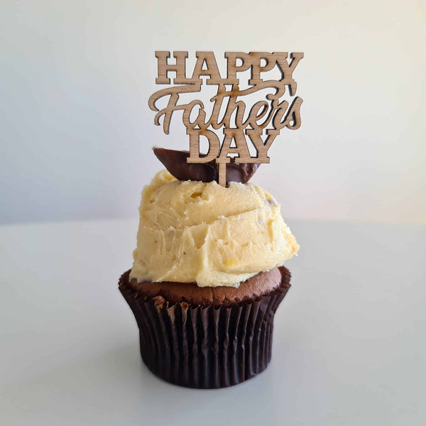 10 x Happy Father's Day Cupcake Toppers - Wood