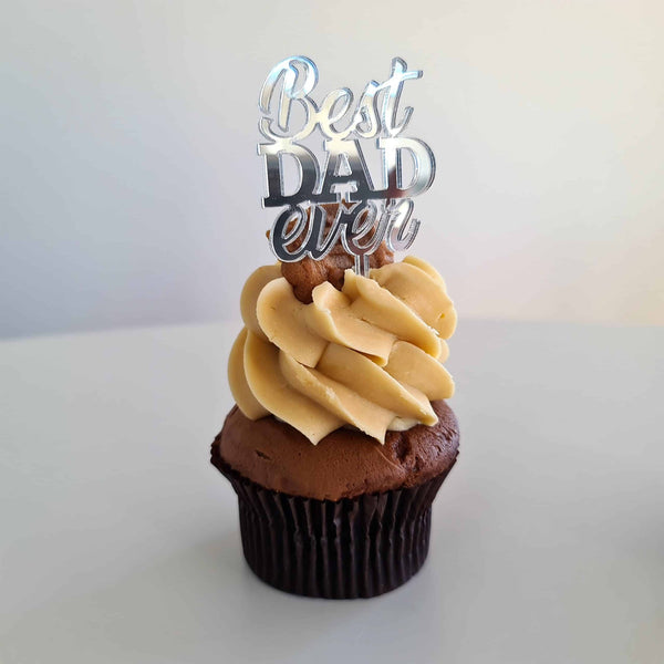10 x Best DAD ever Cupcake Toppers - Silver