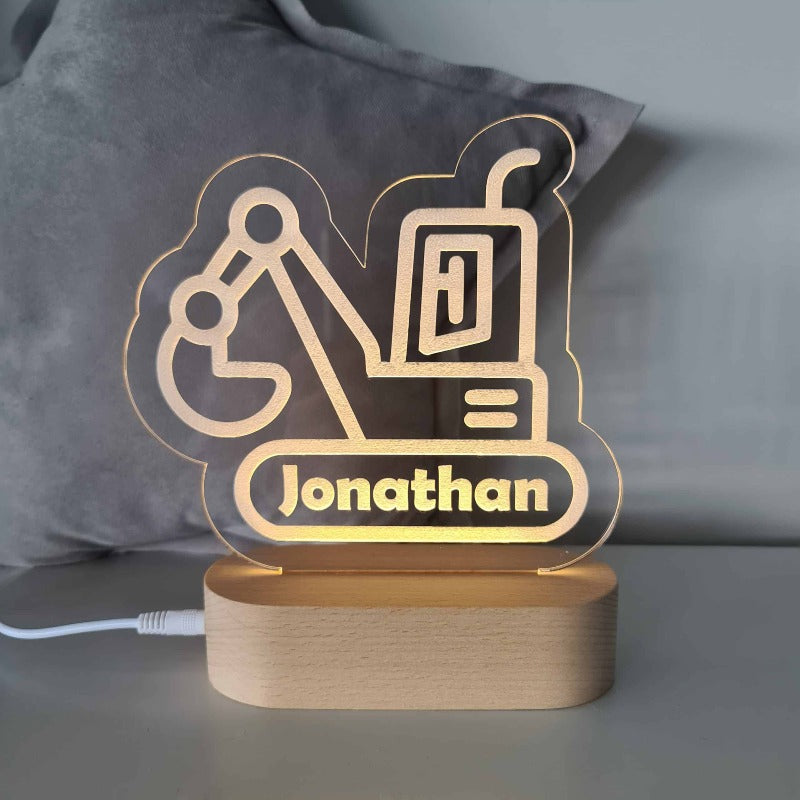 Personalised Baby Night Light - Digger