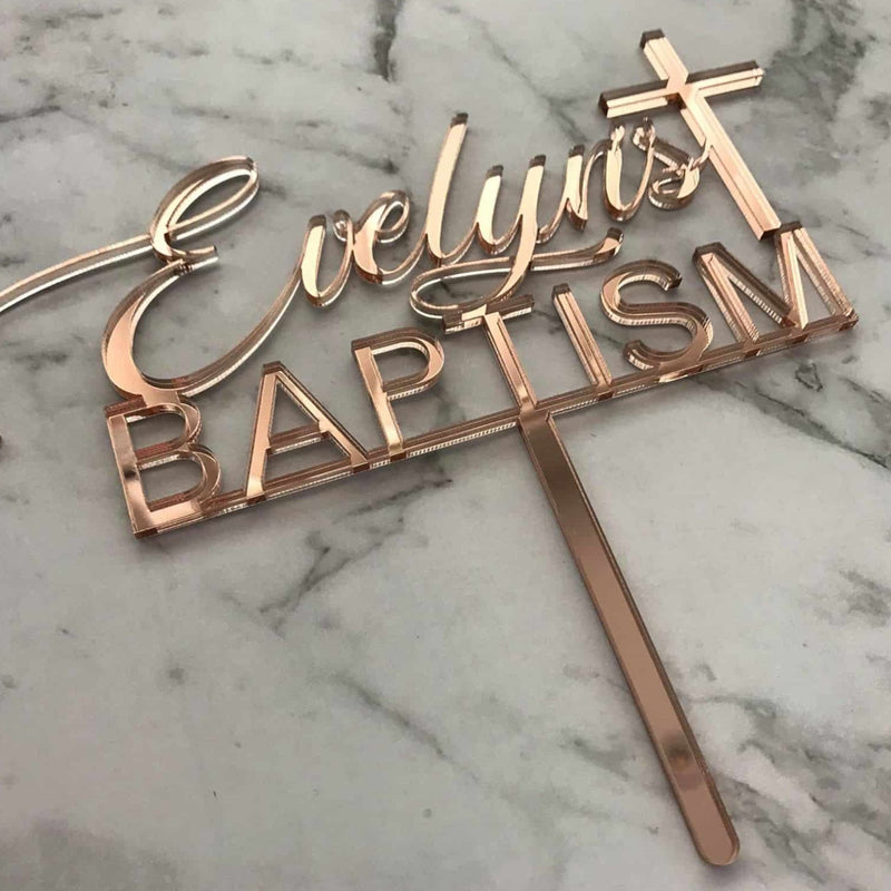 Custom Name Baptism Cake Topper Style Evelyn
