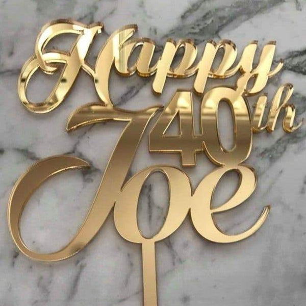 Custom Name Age Birthday Cake Topper Style Joe
